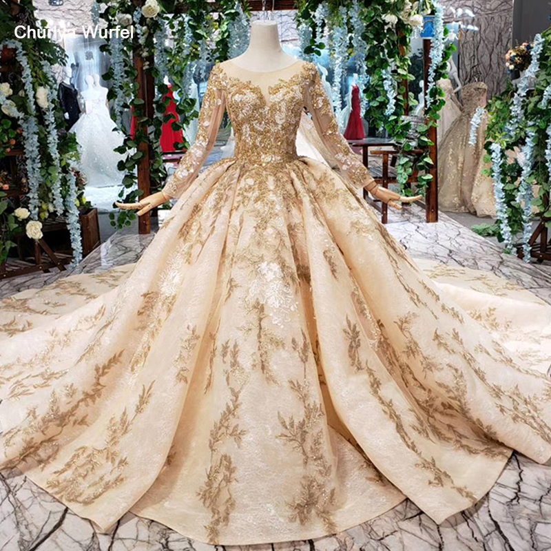 HTL393 luxury golden lace wedding dress with wedding veil o neck long sleeve v back princess bridal dresses golden beads mariage-in Wedding Dresses from Weddings & Events