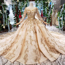 HTL393 luxury golden lace wedding dress with wedding veil o neck long sleeve v back princess bridal dresses golden beads mariage