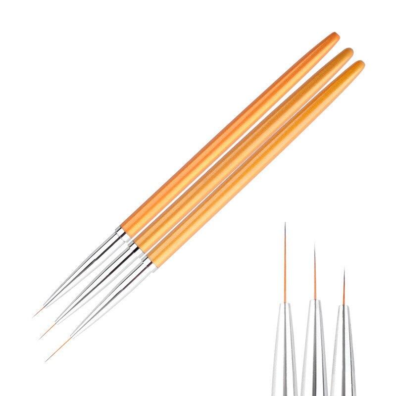 3Pcs/set Gold Nail Art Lines Painting Pen Brush