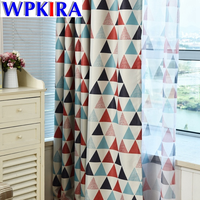Graphic Geometric Pattern Curtain Fabric Print Curtains For Living Room Red Cloth Sheer Green Tulle