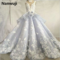 Luxury Beaded Lace Puffy Blue Grey Quinceanera Dresses Royal Blue Chapel Train High Collar Ball Gown Sweet 16 Princess