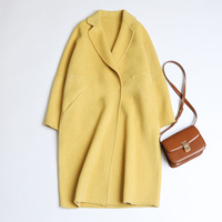 2019 spring the new 100% wool coat cashmere coat whom long al barca cloth coat thin knee high han edition