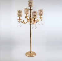 2019 luxury modern 5 arms crystal candlestick tall large candle holders Wedding Candelabra Table Centerpieces Event Road Lead