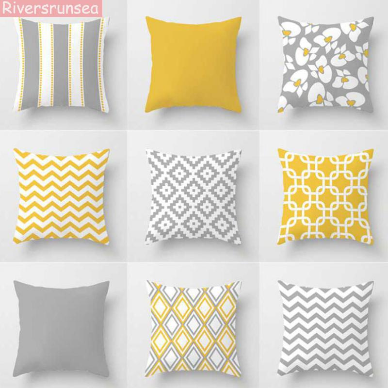 Nordic Style Yellow Gray Pillow Modern Minimalist Geometric Stripes Rhombus Abstract Art <font><b>Cushion</b></font> Home Decor For Office Chair