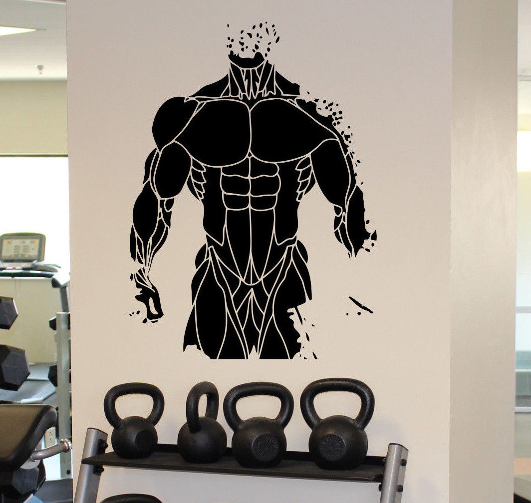Wall decal room sticker gym weights bodybuilding muscle man