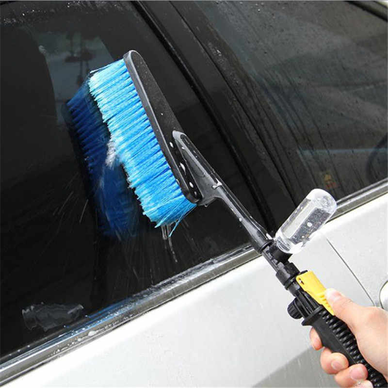Blue Car Wash Brush Retractable Long Handle Water Flow Detector Foam Bottle Cleaning Car Cleaning Brush Tools
