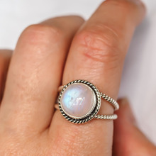 Fashion Punk Style Moonstone Rings Vintage Round Wedding Engagement Thai Silver Jewelry for Women