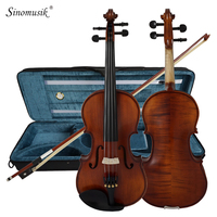 Solid Carved Spruce Top Flame Maple handmade Professional Violin With Oblong Case and Bow