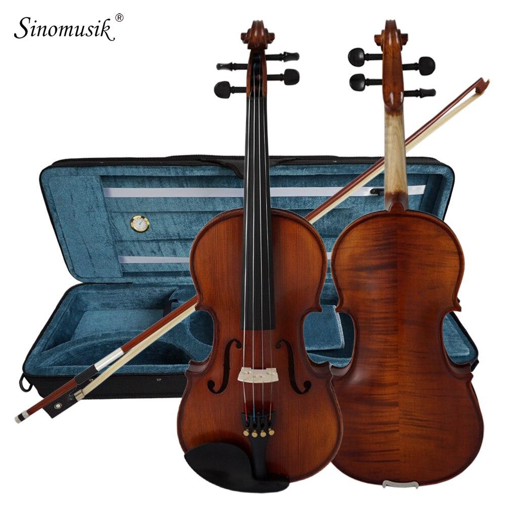 Solido Intagliato Abete Top In Acero Fiamma fatto a mano Violino Professionale Con Oblong Caso e Fiocco