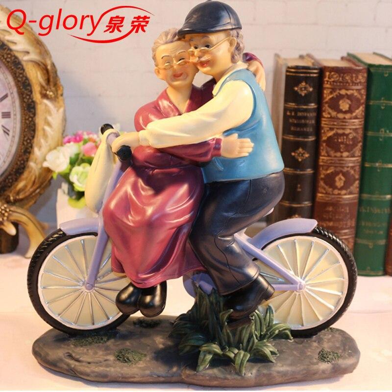 701036e1b739 Q-gloire Résine De Mariage anniversaire cadeaux Décoration Souvenirs  Décoration de La Maison Accessoires Miniature Jardin Grand-Mère Figurines