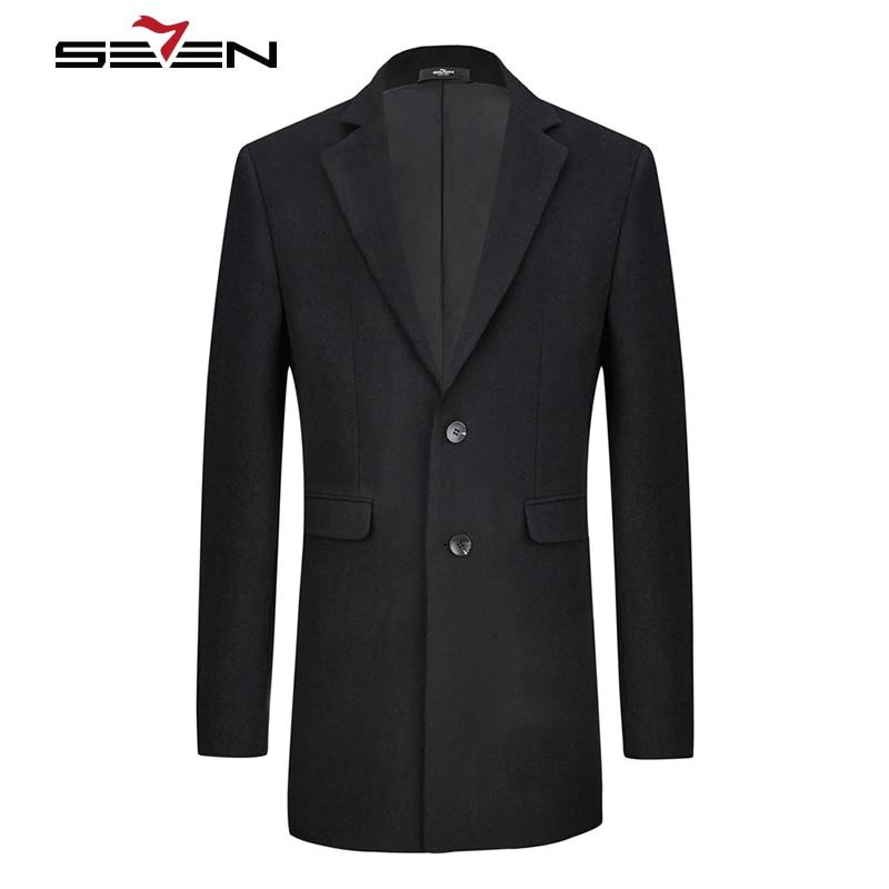 Seven7 Classic Style Long Wool Coat Men Fashion Casual Winter Woolen Coats Business Black Male Trench Overcoat Jacket 115C18030