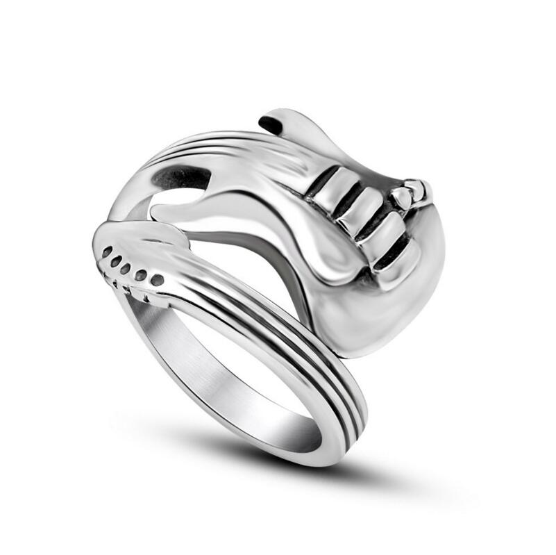 316L Titanium Steel Silver Rock Guitar Rings Vintage Sculpt Wedding Band Jewelry In From Accessories On Aliexpress