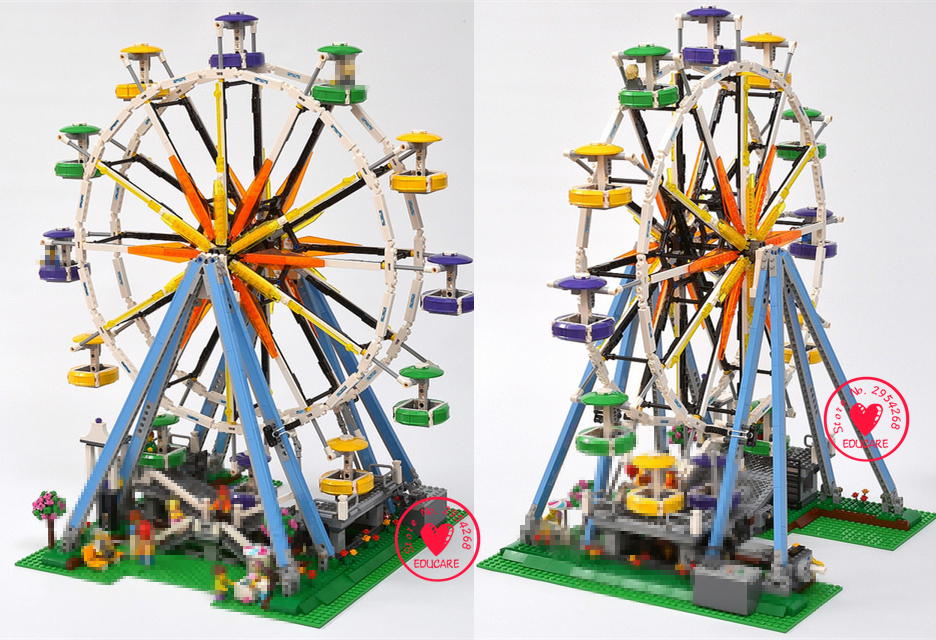 2518pcs New Lepin 15012 City Street Ferris Wheel creator Model Building Blocks Kits Toy Compatible 10247 kid gifts set lepin 16008 creator cinderella princess castle city 4080pcs model building block kid toy gift compatible 71040