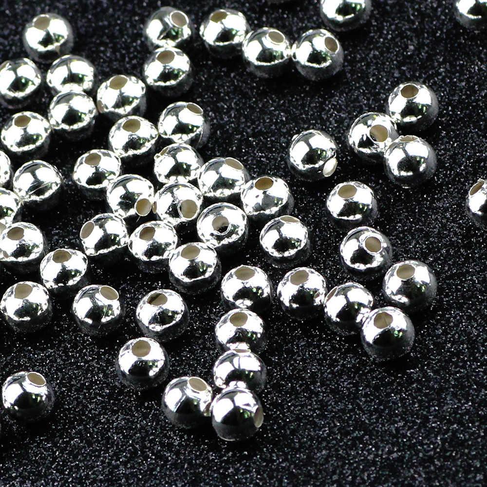 BTFBES ustalenia DIY koralik złoto srebro 2 3 4 6 8mm żelazo metalowe koraliki okrągłe biżuteria na bal Making dla Bracele naszyjnik kolczyk wisiorek