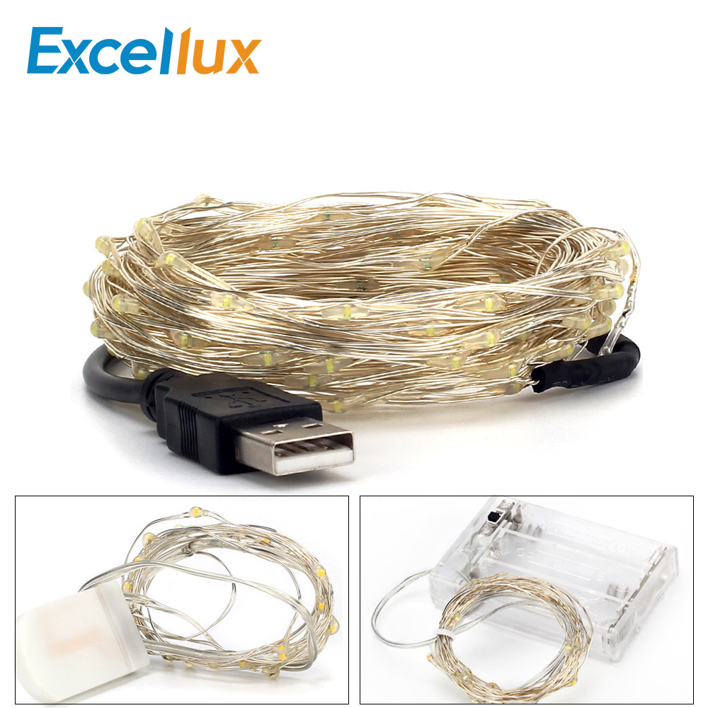 2M 3M 5M 10M Led Lights Chain Copper Wire USB Or Battery Powered Led String Light Fairy Light For Christmas Lights Wedding Party