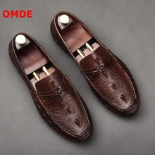 OMDE Men mocassin homme Leather Loafers Crocodile Pattern Slip On Men's Casual Shoes Boat Shoes Driving Moccasins Men Slippers new men s octopus leather penny loafers crocodile slip on driving shoes mens casual shoes moccasins business boat shoes branded
