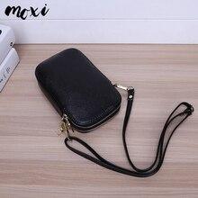 Moxi Женская мини-сумка из натуральной кожи, женская сумка-мессенджер с двойной молнией, повседневная сумка на плечо для телефона, универсальная женская сумка через плечо
