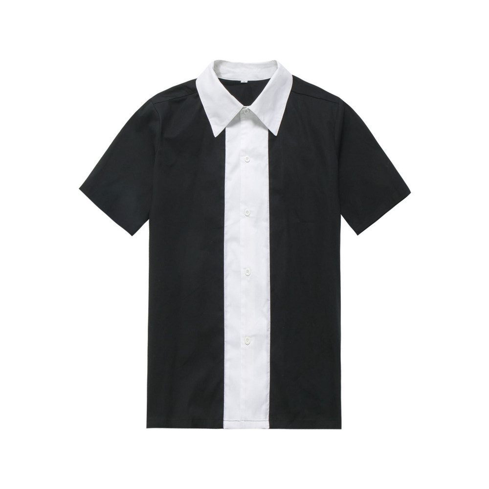 3448695b9 Wholesale Clothing Rockabilly Men Clothing Black White Color Vintage Shirt  Man's Retro Inspired 60's Work Clothes