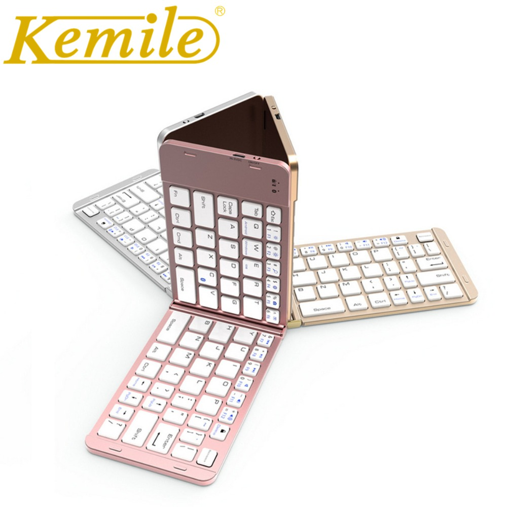 Kemile Folding Portable Universal Wireless Bluetooth 3.0 Keyboard for ipad new 2017 2018 9.7 Foldable Small Keyboard for IOS