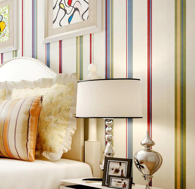 купить living room bedroom Mediterranean vintage fashion stripe wallpaper for kids по цене 1818.54 рублей