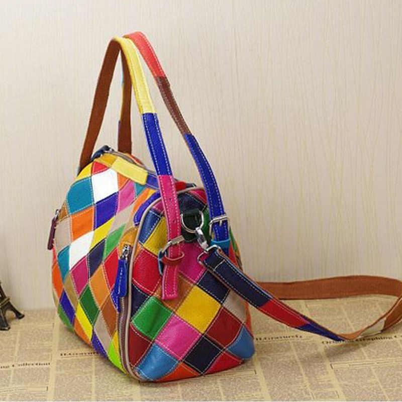 Chsanato bolsas de luxo bolsas femininas designer de alta qualidade colorido couro genuíno geométrico zíperes tote para meninas