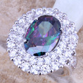 Rainbow Mystic Created Topaz Silver   Women's Big Ring Size 5 / 7 / 8 / 9 E690