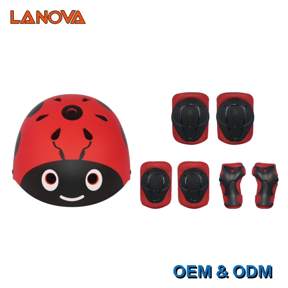 LANOVA Kids 7Pcs/set Cycling Skateboard Lovely Helmet Elbow Pads Knee Pads Wrist Sport Children Bike Bicycle Roller Protect gear
