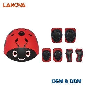 LANOVA Kids 7 шт./компл., велосипедный скейтборд, милый шлем, налокотники, наколенники, наручные спортивные детские велосипедные ролики, защитное ...