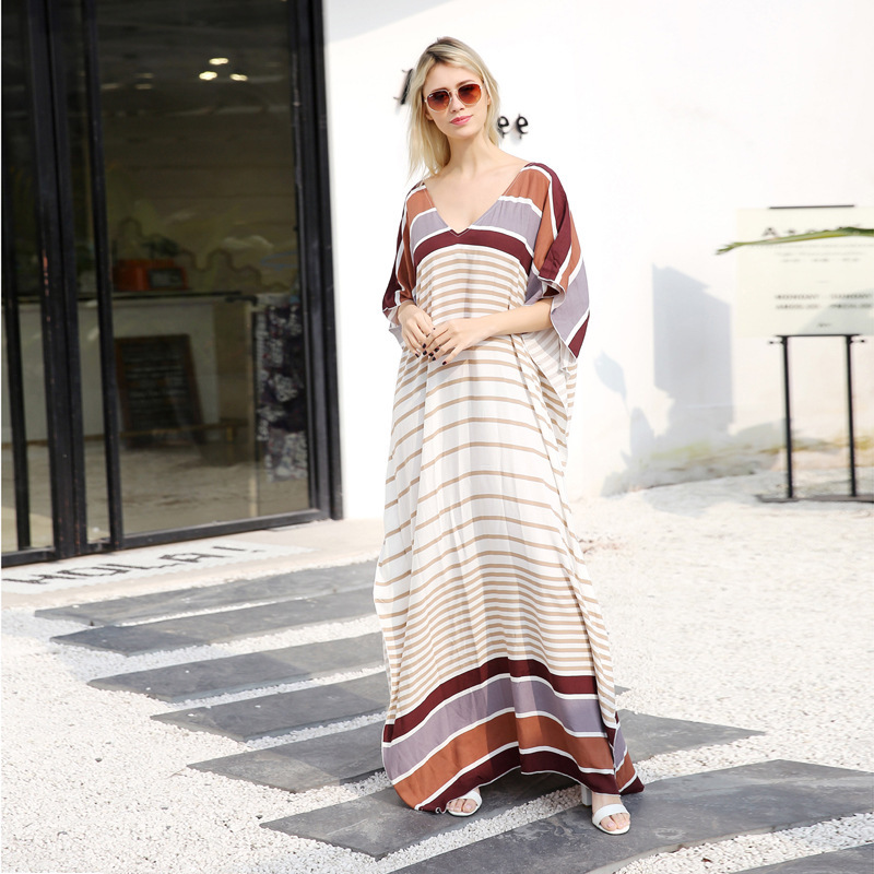 2018 Cover Up Beach Woman Beachwear Dresses Fashion For Women Summer 2019 New Loose Garment Stripe Dress Large Size Skirt Print
