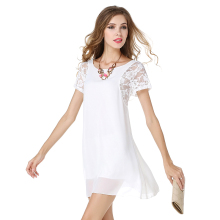 Lace Sleeve Patchwork Chiffon Dress Hollow Out 2017 Summer Dress Women Short Sleeve O-Neck A-Line Mini Party Dresses Plus Size