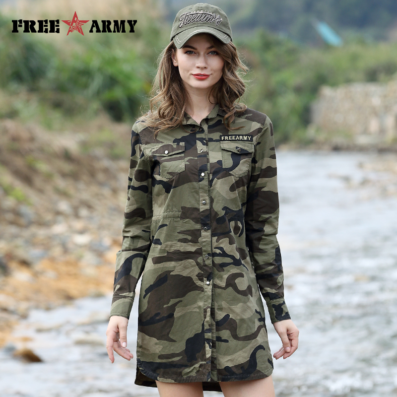Camouflage Long Section Shirt Kvinner Langermet Klær Topp Kvalitet Slim Fit Designer Casual Fashion Female Shirt Buttons-Up
