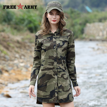 Camouflage Long Section Shirt Women Sleeve Clothing Top Quality Slim Fit Designer Casual Fashion Female Buttons-Up