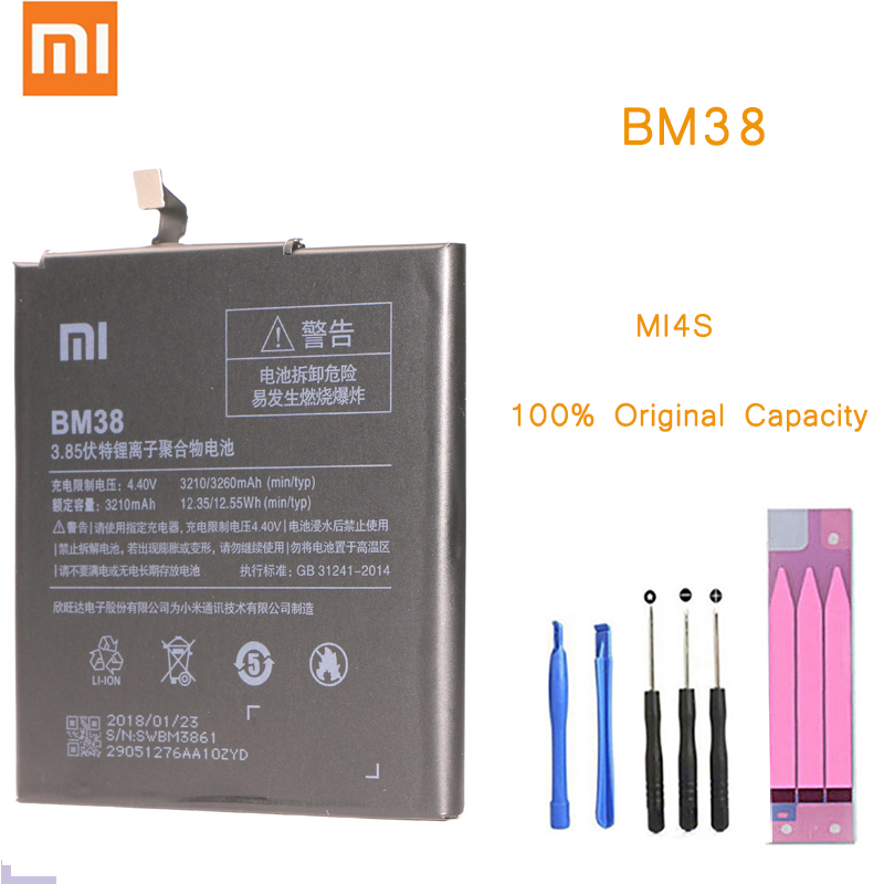 Original Phone <font><b>Battery</b></font> for Xiaomi Mi4S <font><b>Battery</b></font> Xiaomi <font><b>Mi</b></font> <font><b>4S</b></font> BM38 <font><b>Battery</b></font> Replacement <font><b>Batteries</b></font> with Retail Package bateria M4S image