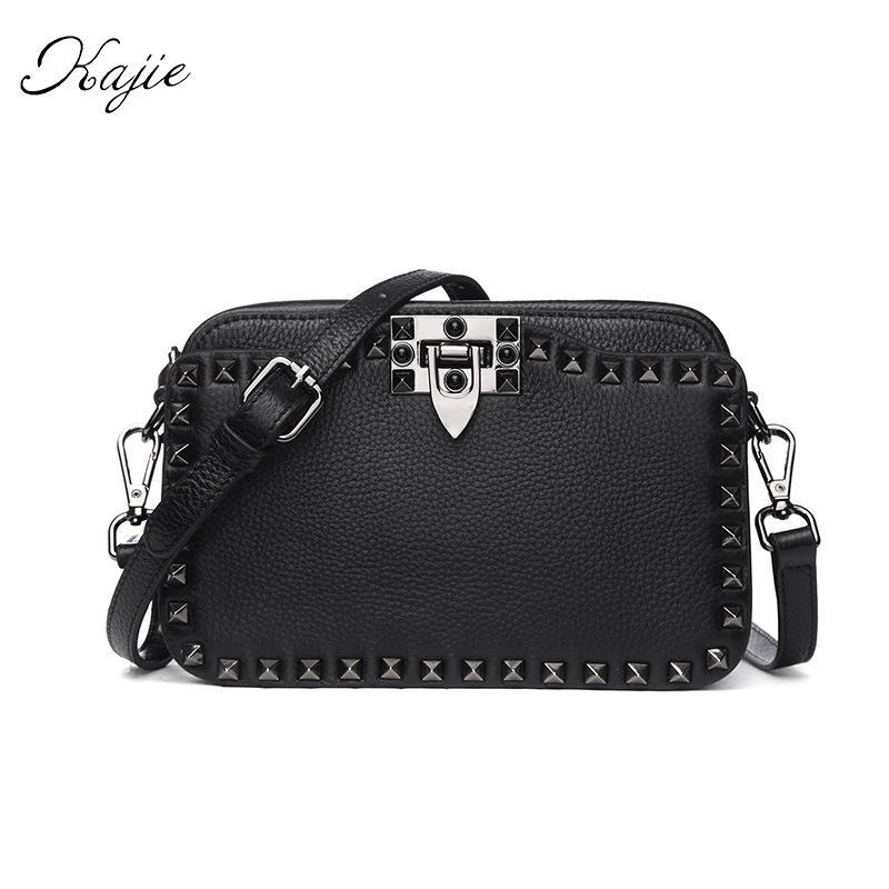 Kajie Women Luxury Handbags Cow Shoulder Bags Designer Genuine Leather Rivet Crossbody Handbag Bolsa Retro Messenger Bags Ladies women messenger bags designer handbags high quality 2017 new belt portable handbag retro wild shoulder diagonal package bolsa