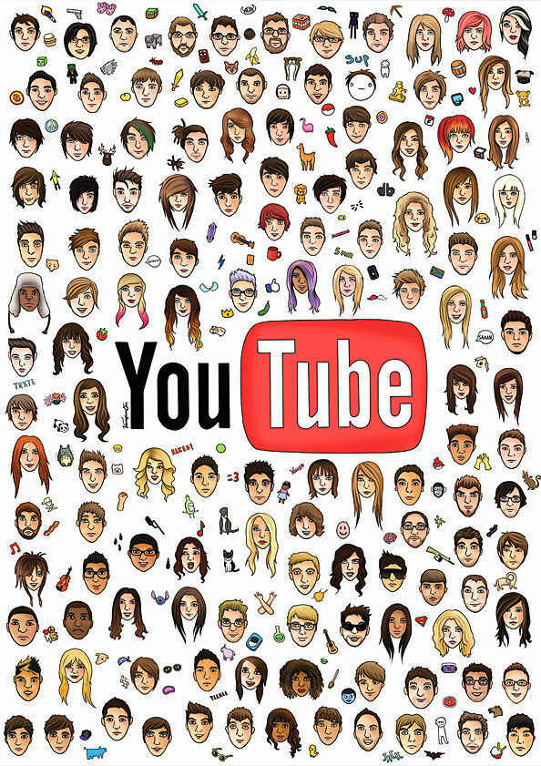 YouTube Poster, Huge Cool YouTuber SILK POSTER Decorative Wall painting 24x36inch
