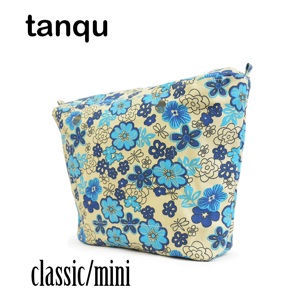 tanqu Classic Mini Colourful Insert Lining for Obag O Bag Floral Inner Pocket Promotion Women Bag Tote Handbag tanqu new mini floral print pu leather lining waterproof insert zipper inner pocket for mini obag eva o bag women handbag