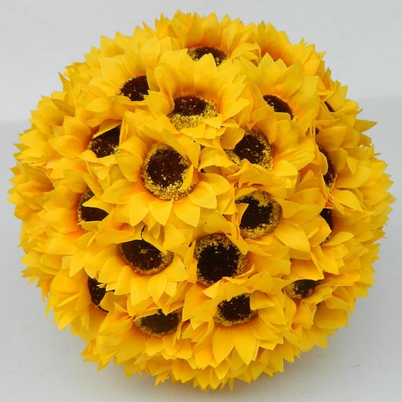 Umělé hedvábí květiny Slunečnice míč Centerpieces žluté svatební líbání koule visící dekorativní koule