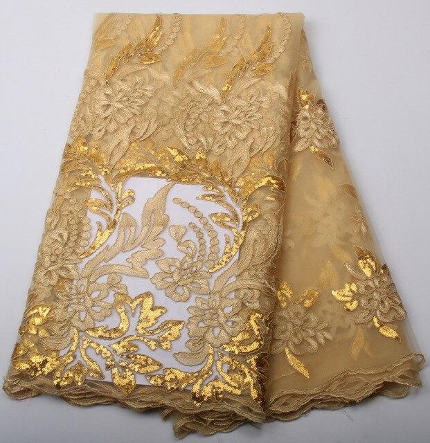 033caf703dafe7 Hoge kwaliteit afrikaanse franse tule stof met pailletten in goud kleur