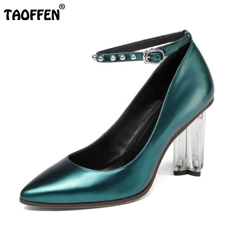 TAOFFEN Size 34-39 Women Genuine Real Leather High Heels Pumps Women Sexy Pointed Toe Ankle Strap Shoes Women Party Crystal Heel taoffen women high heels shoes women thin heeled pumps round toe shoes women platform weeding party sexy footwear size 34 39