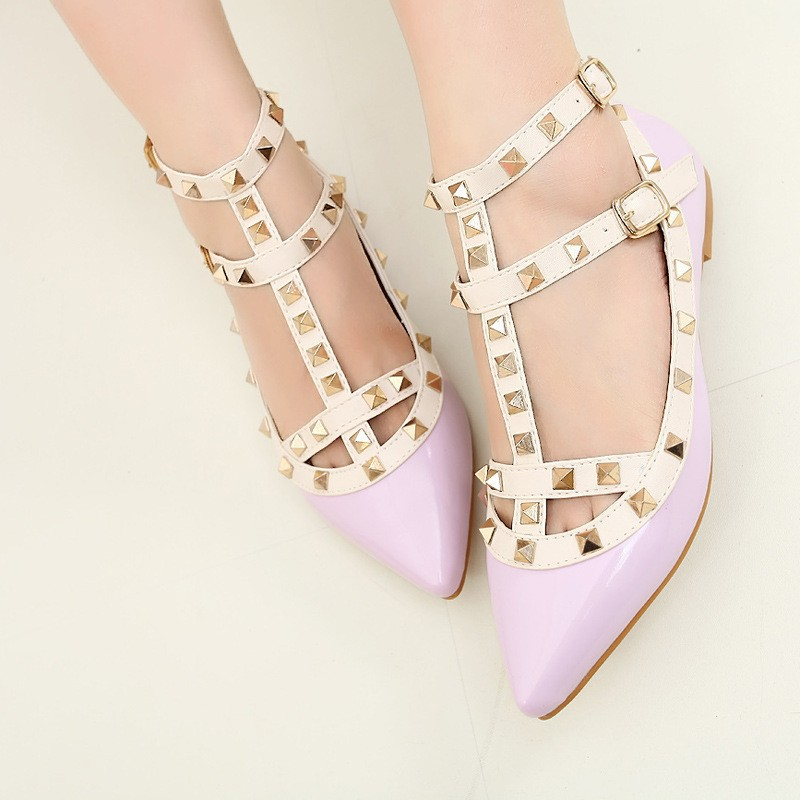 New-rivet-pointed-toe-women-color-block-patent-leather-gladiator-flats-sexy-stud-women-ballet-flat (4)