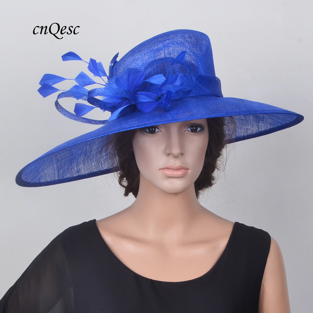 5bd25be7571e3 NEW Cobalt royal blue X Large Sinamay Hats Wedding Fascinator fedora with  feathers for Kentucky Derby