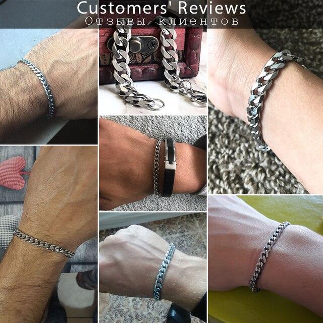 """3-11mm Men's Bracelets Silver Stainless Steel Curb Cuban Link Chain Bracelets For Men Women Wholesale Jewelry Gift 7-10"""" KBM03 6"""