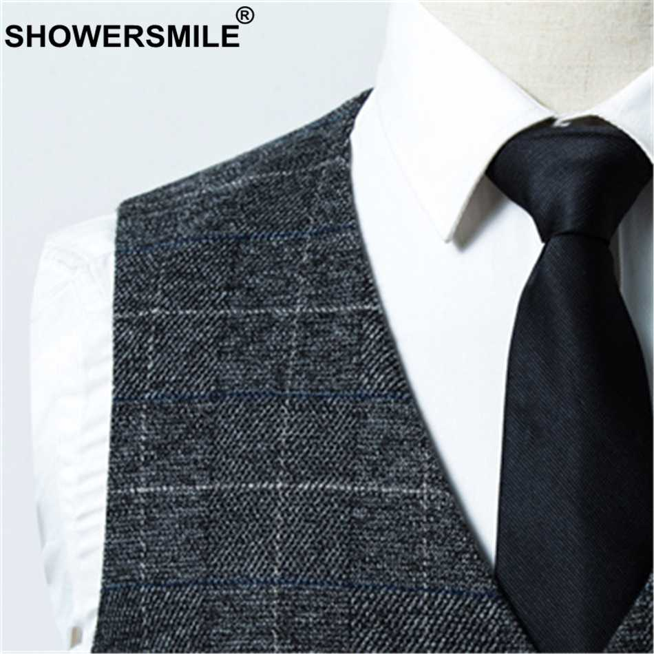 a1dd4abcf25 ... SHOWERSMILE Mens Plaid Suit Vest Spring Autumn British Man Waistcoat  Wedding Check Big Size Gilet Slim ...