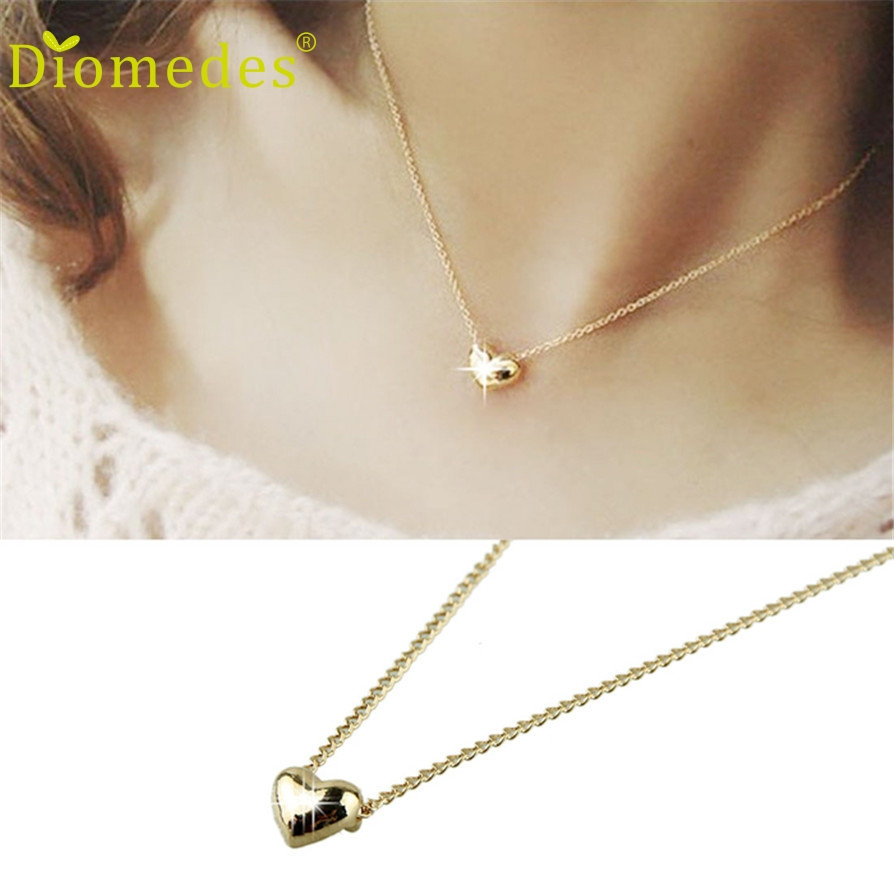 Diomedes Gussy Life wholesale Simple Smooth Small Heart Rose Gold Pated Pendant Necklace Jewelry Austrian Crystal Dec622