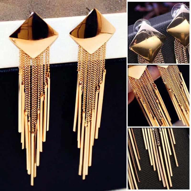 1 пара Модные Длинные Золотые Большие Серьги Квадратные сексуальные Винтажные серьги с кисточками ювелирные изделия для женщин лучший подарок