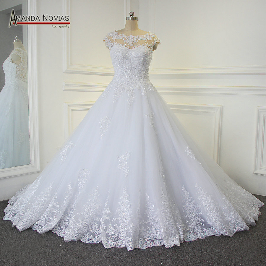 Shinny Beading Lace Wedding Dress Sleeveless robe de soiree wedding