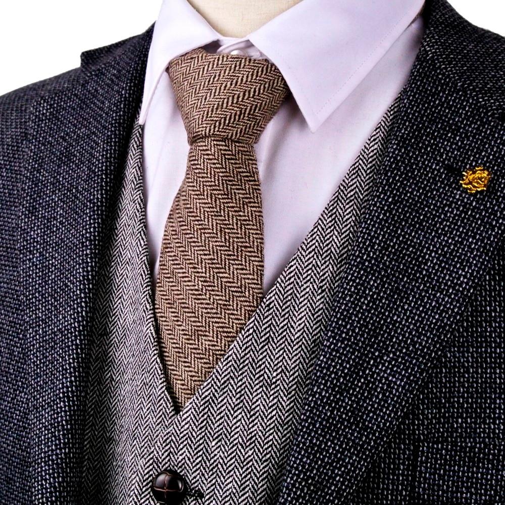 G82 Brown Camel Herringbone Tweed Solid 7cm Mens Lidhje Neckties Lesh Veshjet Veshjet Rastesishme të punuar me dorë Transporti Falas Falas