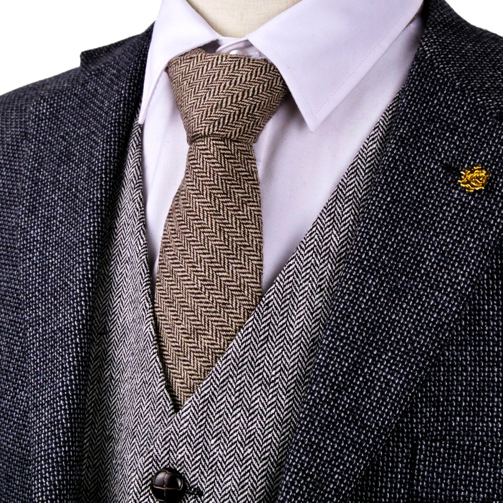 G82 Καφέ Καμήλα Κρεμασμένα Tweed Στερεά 7εκ Mens Ties Γραβάτες Μαλλί Χειροποίητα Casual Φόρεμα Γιλέκα Τυπική Δωρεάν Αποστολή Χονδρική