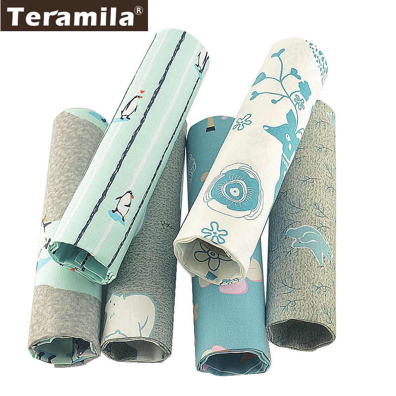 Tela para cama Teramila con diseño de animales de hielo, tela de sarga para Patchwork DIY, tela para coser, tela para edredón de algodón, 6 unidades/lote