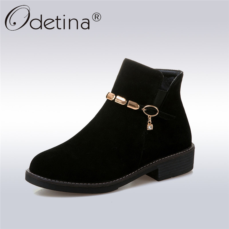 Odetina 2018 New Fashion Women Ankle Boots Buckle Strap Square Low Heels Shoes Ladies  Round Toe Booties Side Zipper Big Size 43 odetina 2017 new summer women ankle strap ballet flats buckle hollow out flat shoes pointed toe ladies comfortable casual shoes